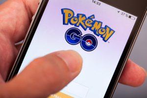 Pokemon Go on cell phone screen